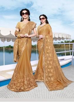 Trendy Saree Embroidered Chiffon Satin in Beige