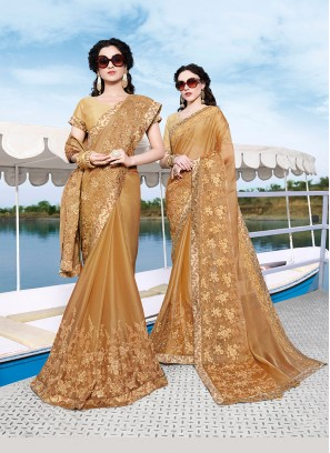 Trendy Saree Embroidered Chiffon Satin in Beige