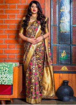 Trendy Saree Woven Banarasi Silk in Brown
