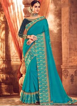 Turquoise Art Silk Classic Saree