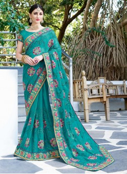 Turquoise Patch Border Ceremonial Classic Saree