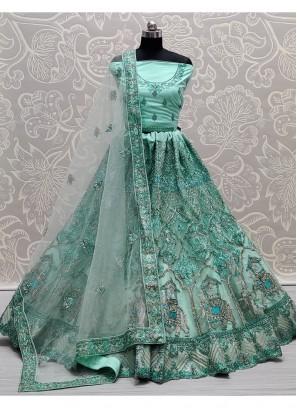 Turquoise Tempting Very well embroidered full of Zarkan diamond on Net wedding Lehenga choli