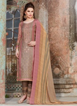 Tussar Silk Embroidered Pant Style Suit in Pink