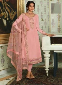 Tussar Silk Pink Resham Designer Straight Salwar Suit