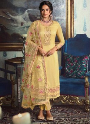 Tussar Silk Salwar Suit in Yellow