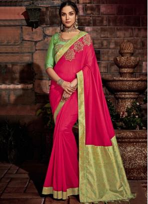 Tussar Silk Zari Pink Designer Saree