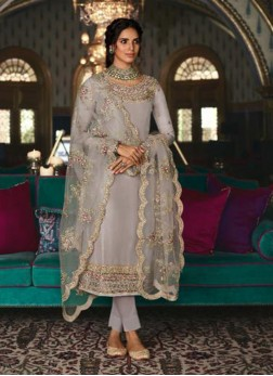 Tussar Silk Zari Salwar Kameez in Grey