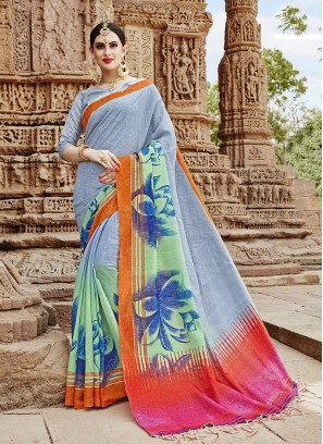 Unique Abstract Print Khadi Silk Multi Colour Printed Saree