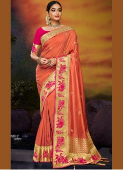 Unique Art Silk Patch Border Orange Traditional Saree
