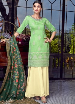 Unique Chanderi Resham Green Designer Pakistani Suit