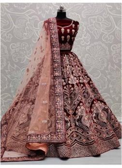 Unique Design On Velvet Lehenga Choli For Bridal In Maroon