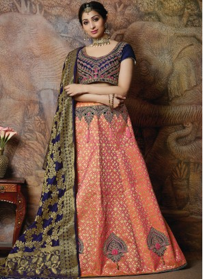 Unique Embroidered Silk Designer Lehenga Choli in peach pink