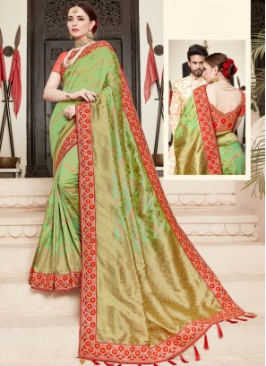 Urbane Art Silk Patch Border Green Designer Traditional Saree