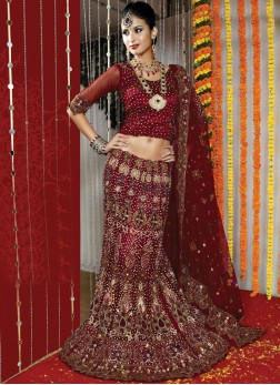Urbane Net Maroon Resham embroidered Bridal Lehenga Choli