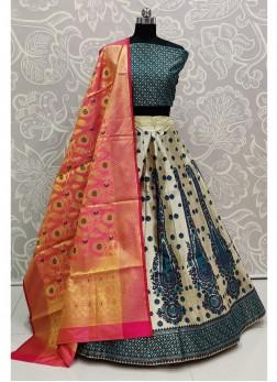 Valuable Blue Banarasi Silk Wedding Wear Lehenga Choli