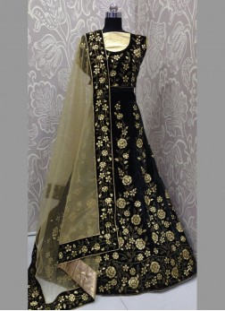 Swarovski and Gotta Patti Work Velvet Partywear Lehenga with Blouse