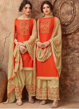 Versatile Embroidered Orange Designer Salwar Kameez