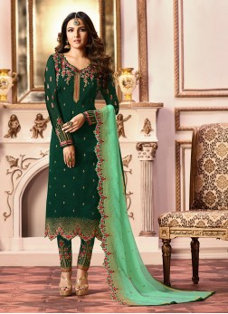 Versatile Green Embroidered Georgette Satin Designer Straight Salwar Kameez