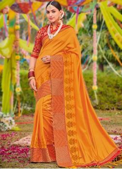 Versatile Orange Classic Saree