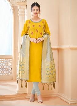 Versatile Thread Yellow Cotton Churidar Salwar Kameez