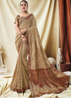 Vibrant Cream Border Silk Trendy Saree