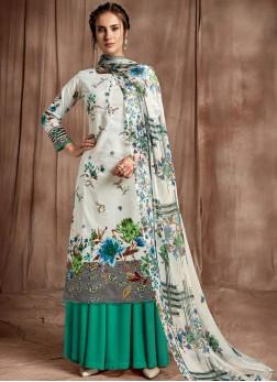 Vibrant Digital Print Party Designer Palazzo Salwar Suit