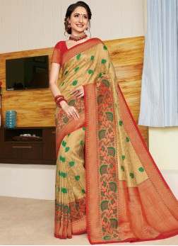 Vibrant Weaving Art Silk Gold Designer Traditional Saree