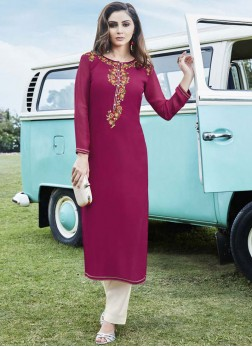 Violet Georgette Party Wear Kurti