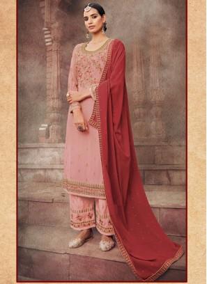 Visible Real Flower Multi Thread Work Festival Salwar Kameez In Pink