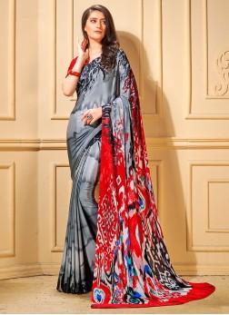 Vivacious Printed Faux Crepe Trendy Saree