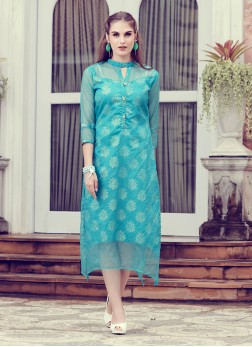 Vivid Abstract Print Crepe Jacquard Blue Party Wear Kurti