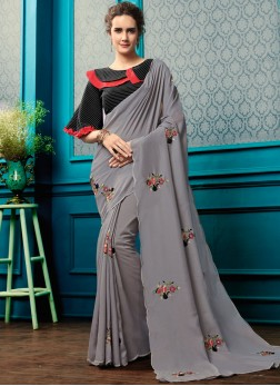Vivid Georgette Grey Resham work reception saree