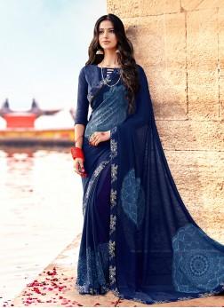 Vivid Georgette Printed Blue Trendy Saree