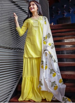 Vivid Print Yellow Party Wear Kurti
