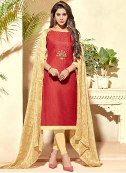 Vivid Red Banarasi Silk Churidar Suit