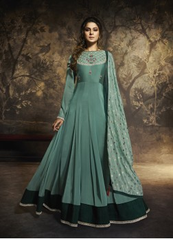 Vivid Sea Green Festival Anarkali Salwar Suit