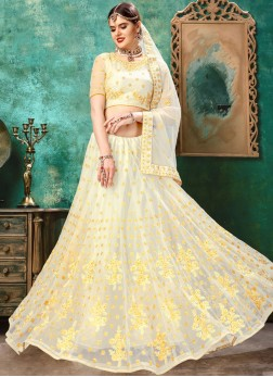Voguish Net Resham White and Yellow Lehenga Choli