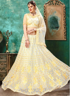 Voguish Net Resham White and Yellow Thread work Girlish Lehenga Choli