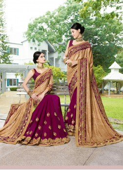 Voluptuous Faux Georgette Beige and Purple Designer Half N Half Saree