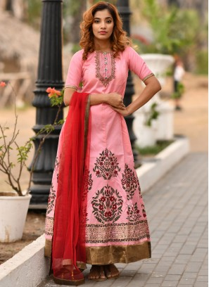 Voluptuous Pink Handwork Designer Gown