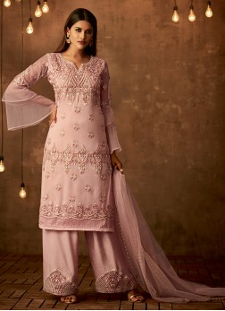 Voluptuous Pink Party Designer Palazzo Salwar Suit