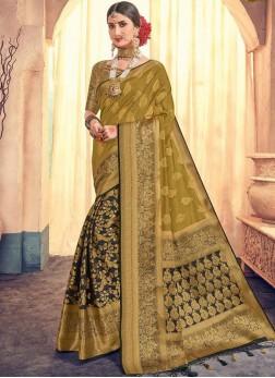 Weaving Banarasi Silk Classic Saree in Mustard
