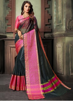 Weaving Cotton Silk Saree in Black