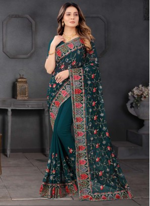 Wedding Designer Embroidered Saree In Teal Green