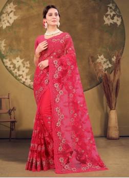Wedding Designer Embroidery Work Net Saree In Salm