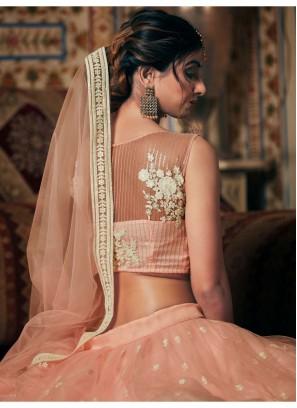 Wedding Designer Sequnces Work Peach Net Lehenga Choli