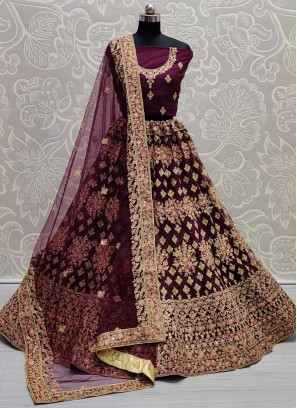 Wedding Dori Embroidery Lehenga Choli In Purple