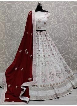 Wedding Embroidery Georgette Lehengacholi In White