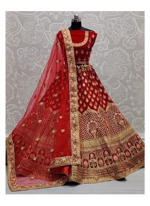 Wedding Embroidery Ghagra Choli In Red