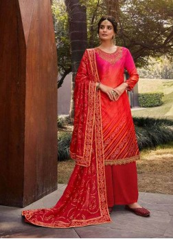 Wedding Embroidery Salwar Suit With Palazzo In Red